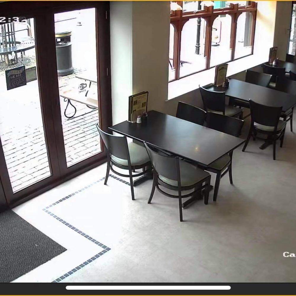 Cafe CCTV footage