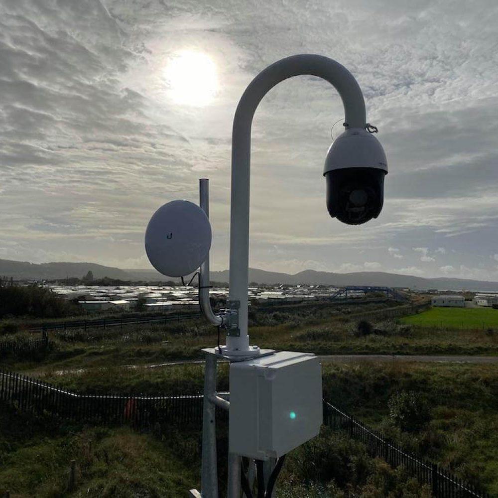 PTZ CCTV camera on caravan park